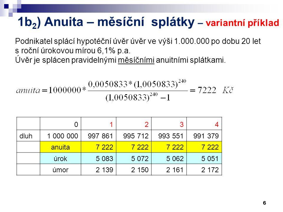 1b2) Anuita – měsíční splátky – variantní příklad