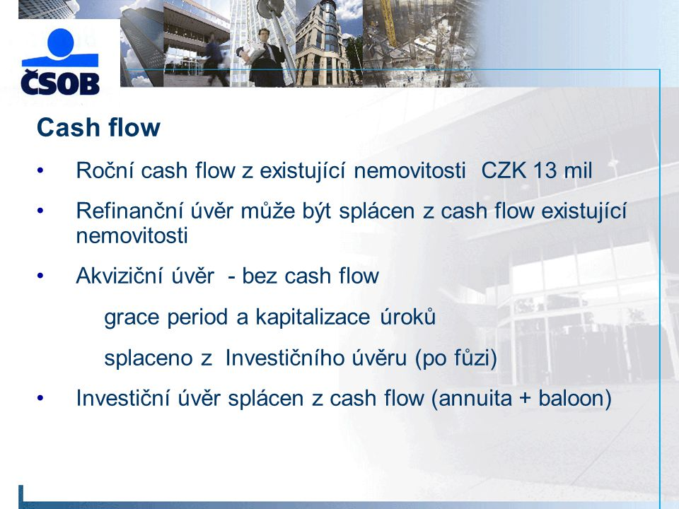 Cash flow Roční cash flow z existující nemovitosti CZK 13 mil