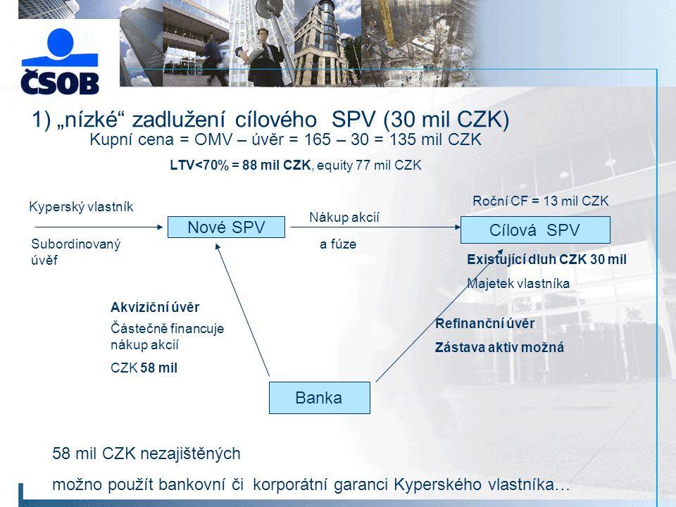 """1) """"nízké zadlužení cílového SPV (30 mil CZK)"""