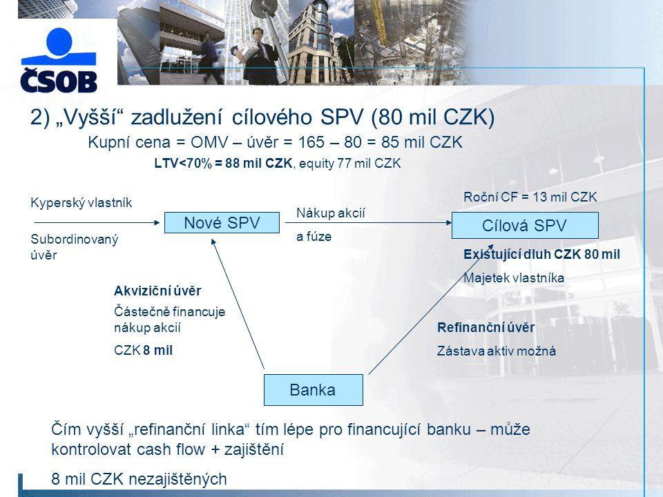 """2) """"Vyšší zadlužení cílového SPV (80 mil CZK)"""