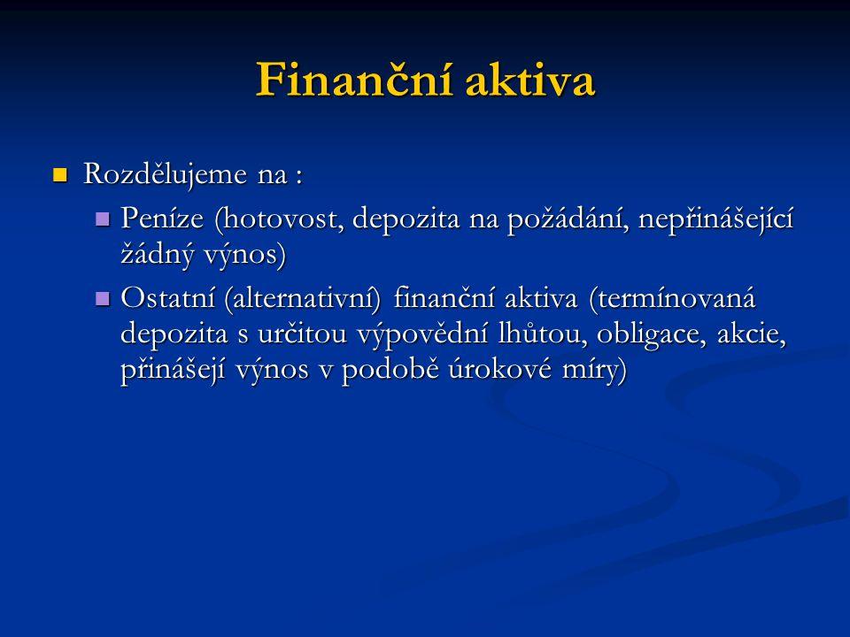 Finanční aktiva Rozdělujeme na :