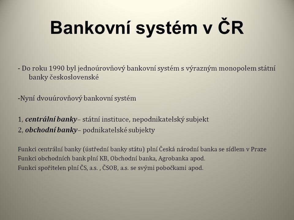 Bankovní systém v ČR - Do roku 1990 byl jednoúrovňový bankovní systém s výrazným monopolem státní banky československé.