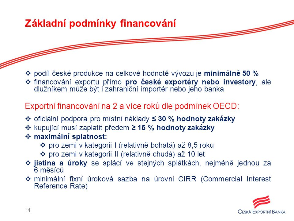 Základní podmínky financování