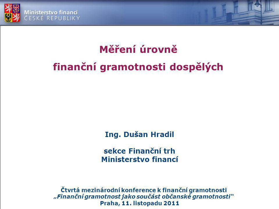 Měření úrovně finanční gramotnosti dospělých