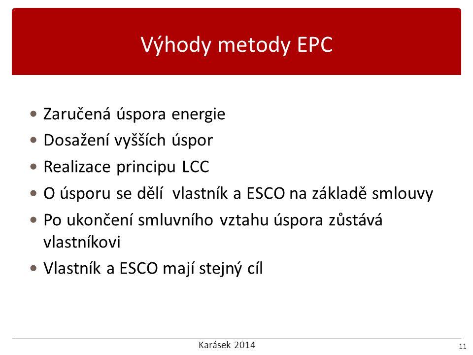 Výhody metody EPC Zaručená úspora energie Dosažení vyšších úspor