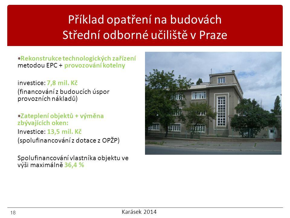 Příklad opatření na budovách Střední odborné učiliště v Praze
