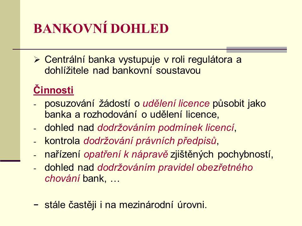 BANKOVNÍ DOHLED Centrální banka vystupuje v roli regulátora a dohlížitele nad bankovní soustavou. Činnosti.