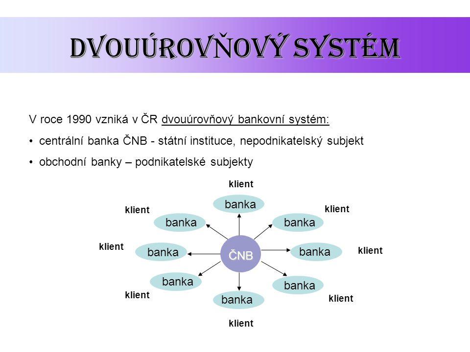 DvouúrovŇový systém V roce 1990 vzniká v ČR dvouúrovňový bankovní systém: centrální banka ČNB - státní instituce, nepodnikatelský subjekt.