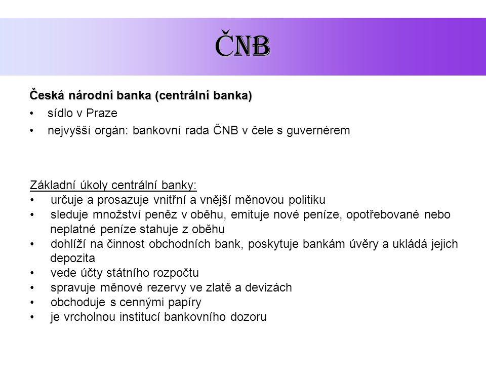 ČNB Česká národní banka (centrální banka) sídlo v Praze