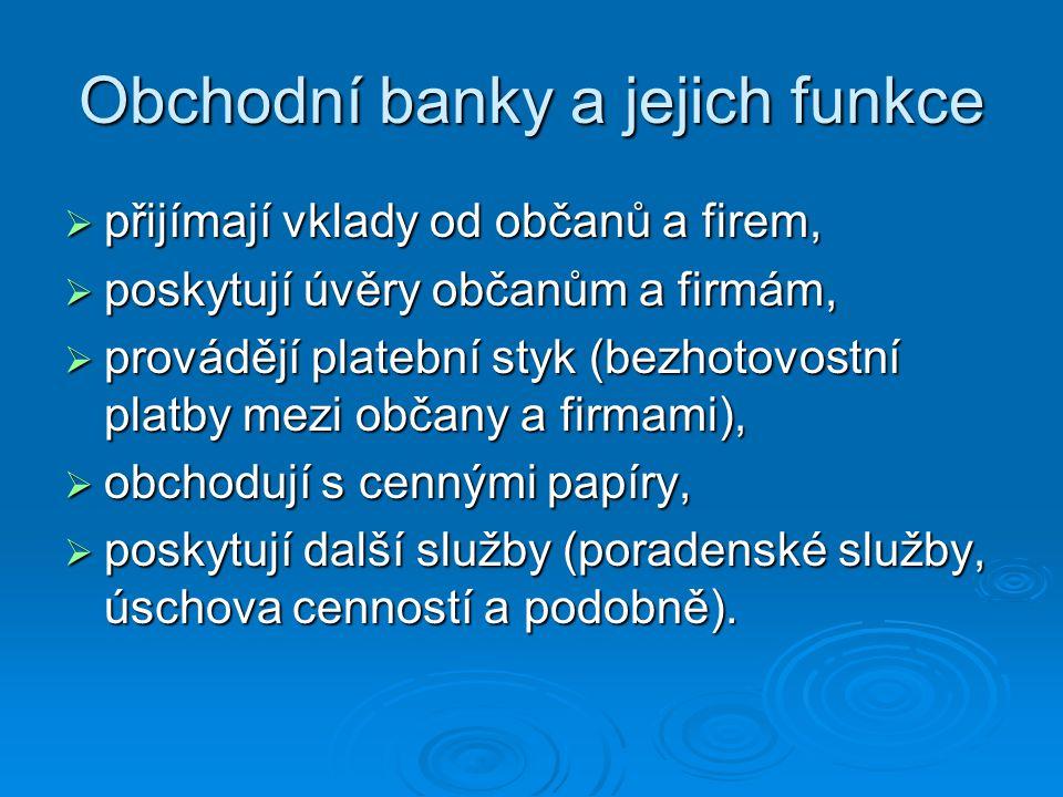 Obchodní banky a jejich funkce