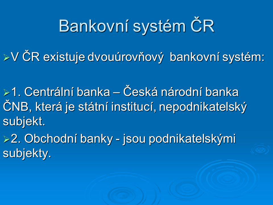 Bankovní systém ČR V ČR existuje dvouúrovňový bankovní systém: