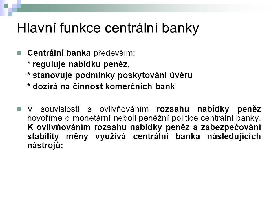 Hlavní funkce centrální banky