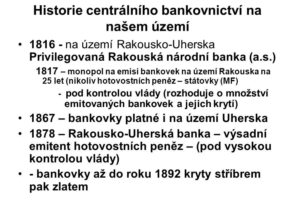 Historie centrálního bankovnictví na našem území