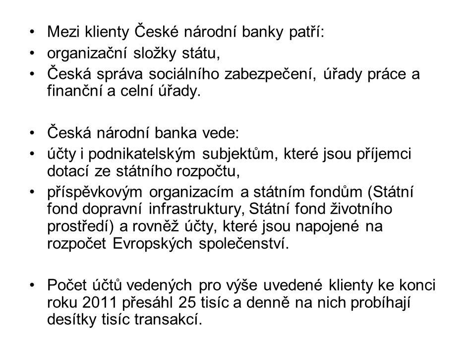 Mezi klienty České národní banky patří: