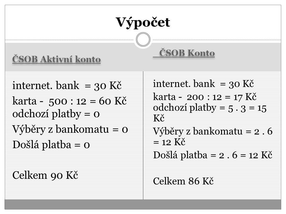 Výpočet ČSOB Aktivní konto. ČSOB Konto.
