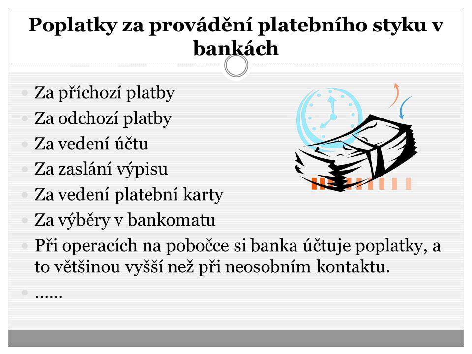 Poplatky za provádění platebního styku v bankách