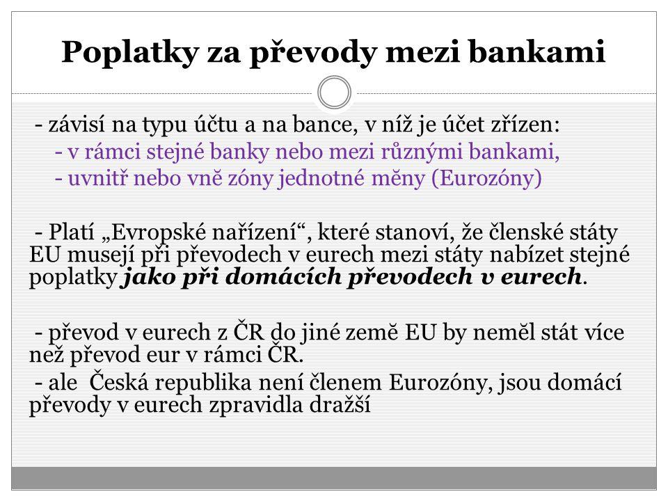Poplatky za převody mezi bankami
