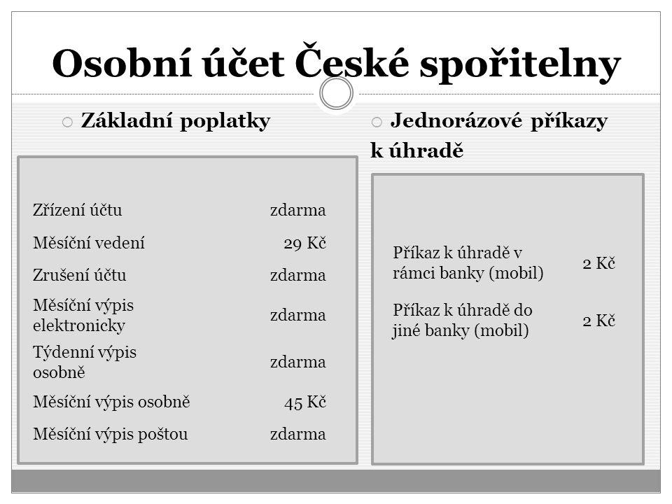 Osobní účet České spořitelny