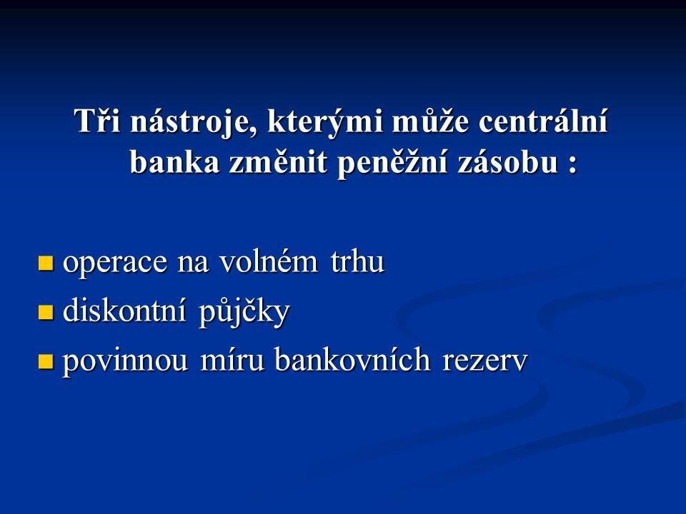 Tři nástroje, kterými může centrální banka změnit peněžní zásobu :
