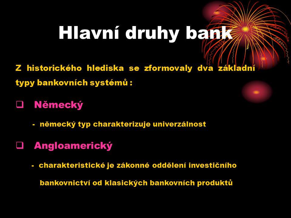 Hlavní druhy bank Německý Angloamerický