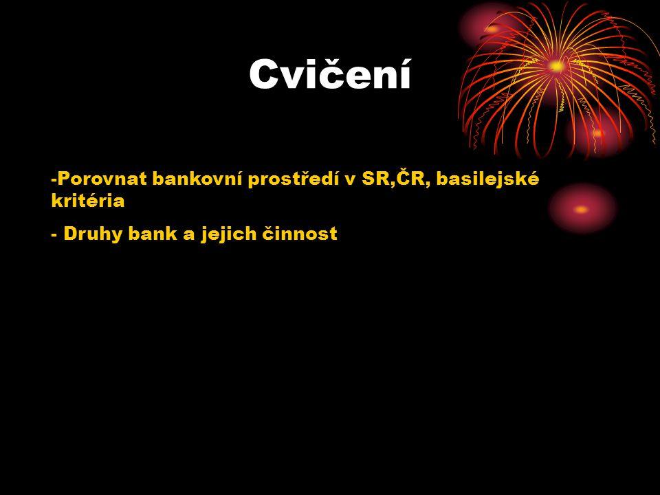 Cvičení Porovnat bankovní prostředí v SR,ČR, basilejské kritéria
