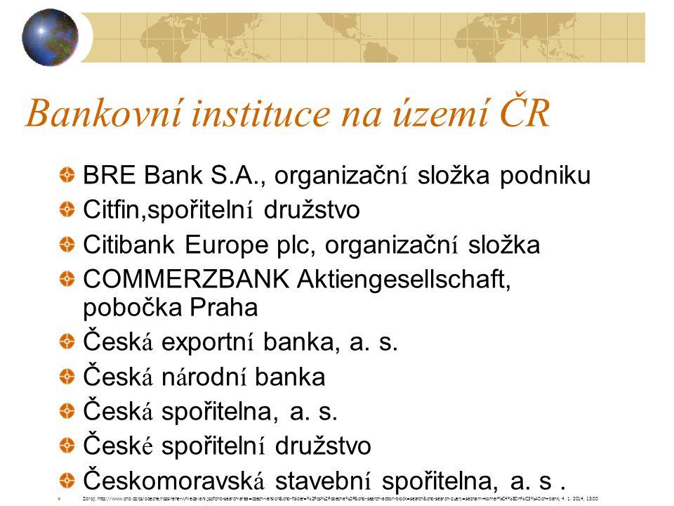 Bankovní instituce na území ČR