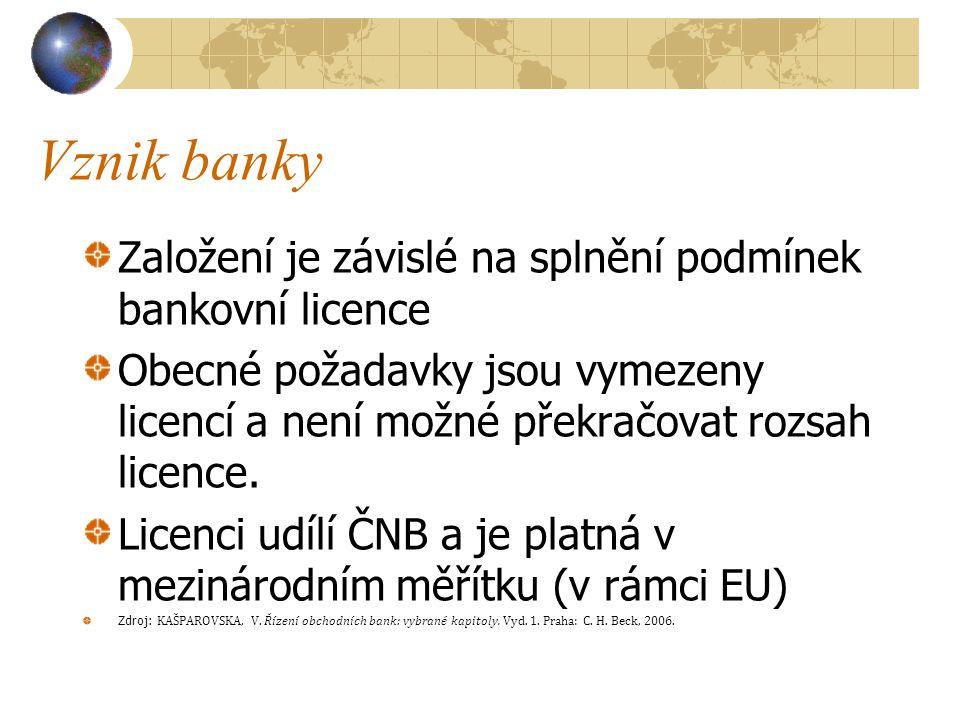 Vznik banky Založení je závislé na splnění podmínek bankovní licence