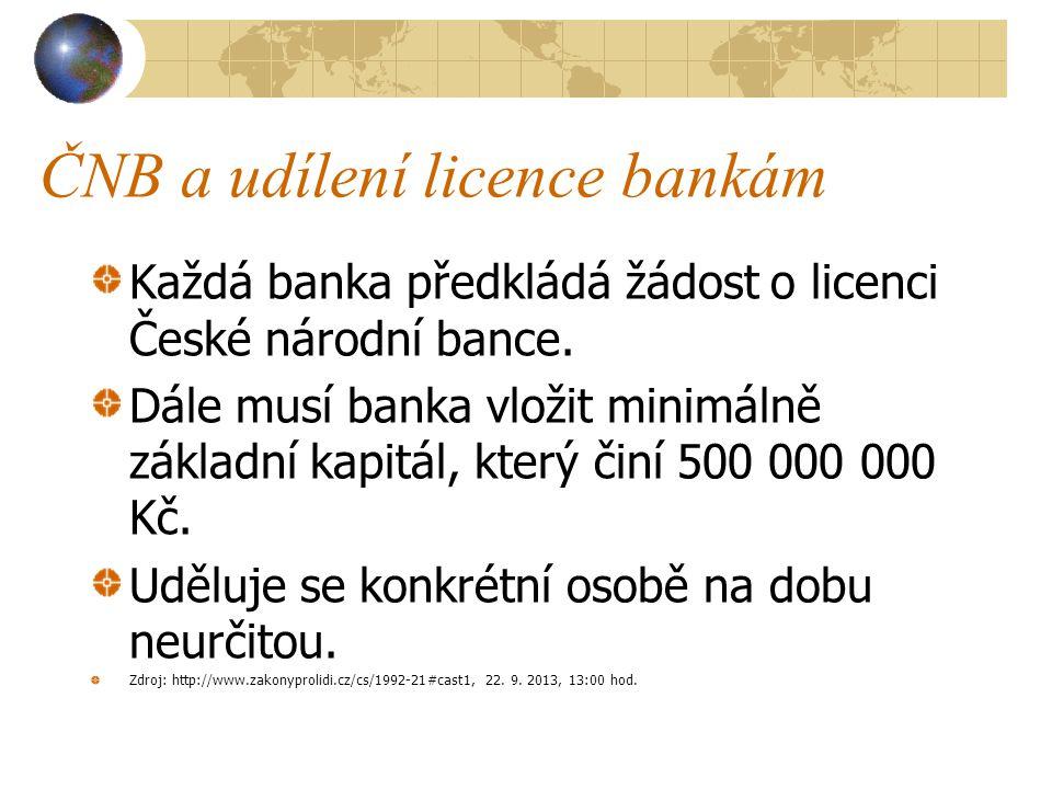 ČNB a udílení licence bankám
