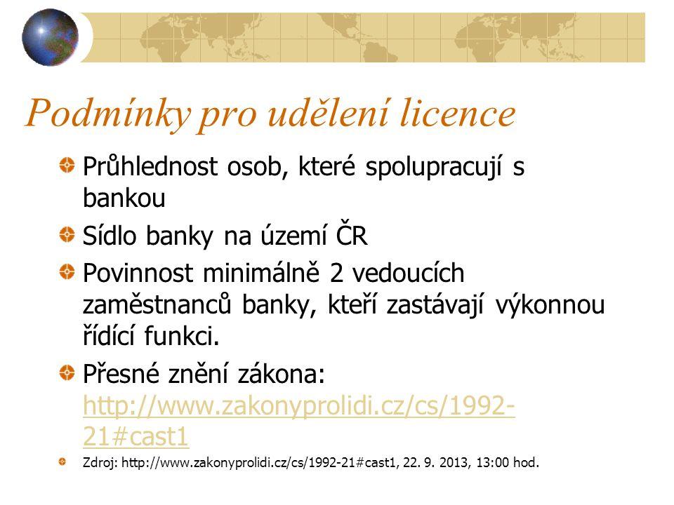 Podmínky pro udělení licence