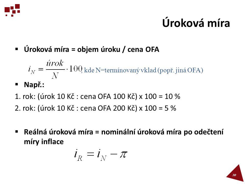 Úroková míra Úroková míra = objem úroku / cena OFA Např.: