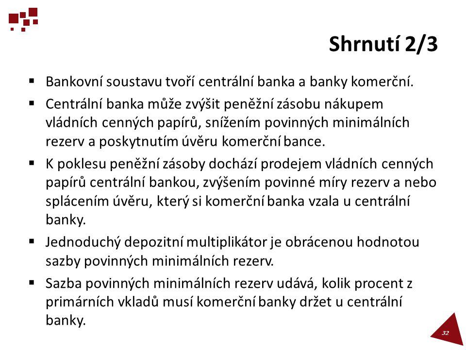 Shrnutí 2/3 Bankovní soustavu tvoří centrální banka a banky komerční.