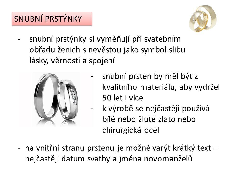SNUBNÍ PRSTÝNKY snubní prstýnky si vyměňují při svatebním obřadu ženich s nevěstou jako symbol slibu lásky, věrnosti a spojení.