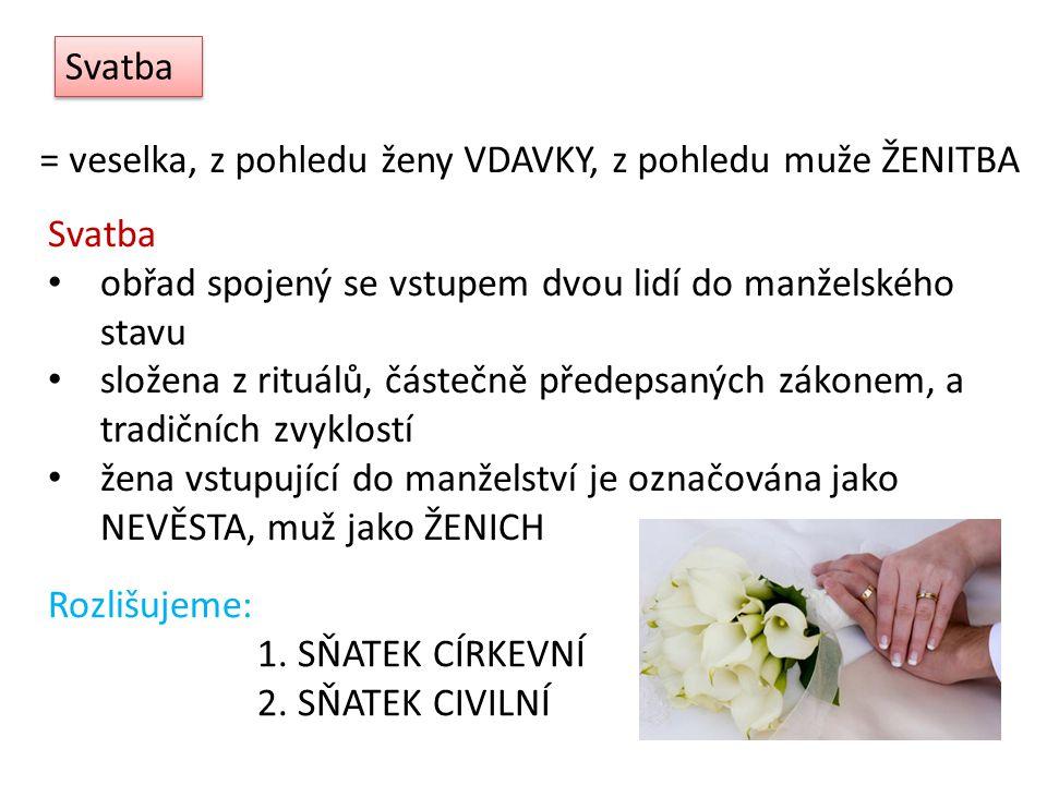 Svatba = veselka, z pohledu ženy VDAVKY, z pohledu muže ŽENITBA. Svatba. obřad spojený se vstupem dvou lidí do manželského stavu.