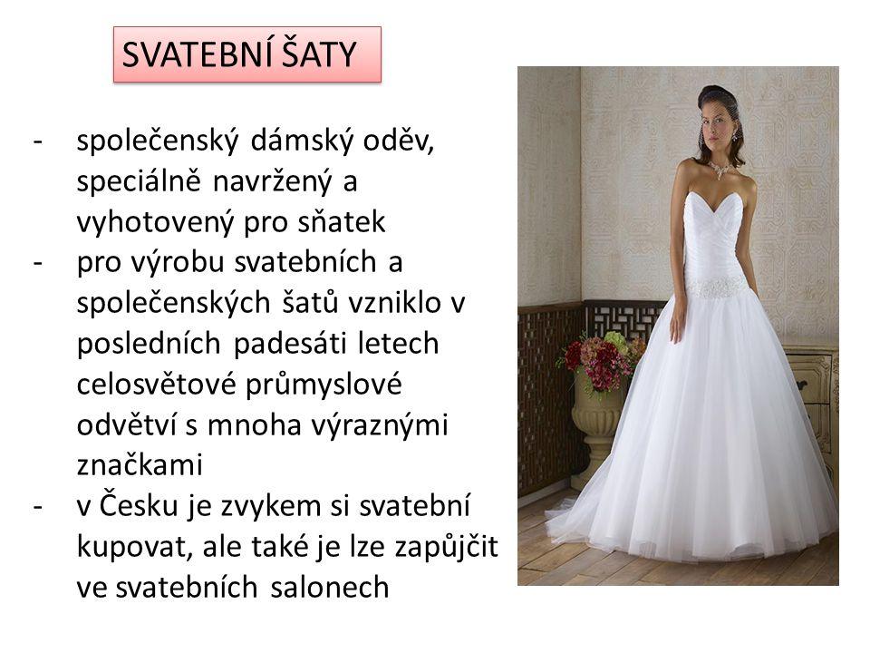 SVATEBNÍ ŠATY společenský dámský oděv, speciálně navržený a vyhotovený pro sňatek.