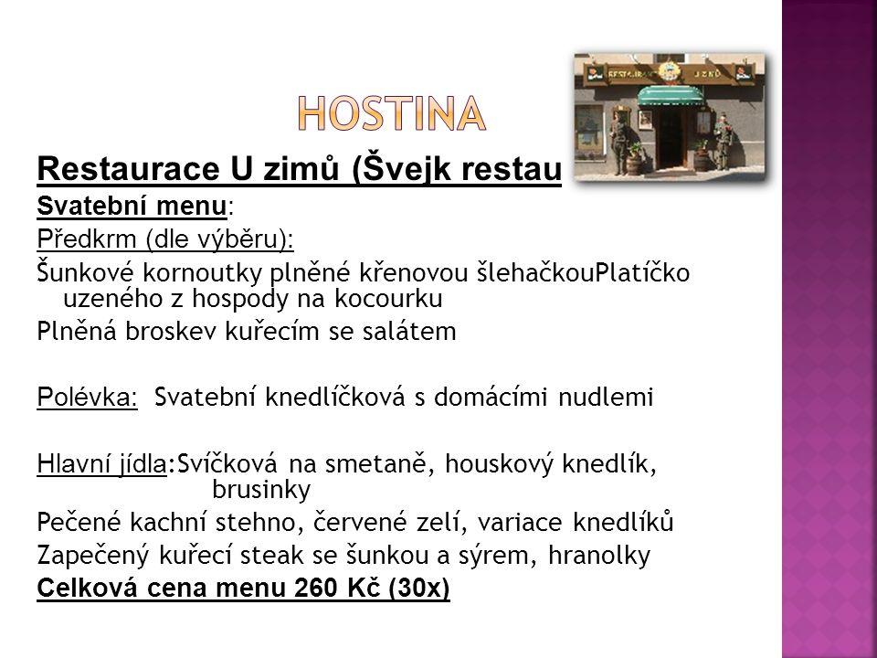 Hostina Restaurace U zimů (Švejk restaurant) Svatební menu: