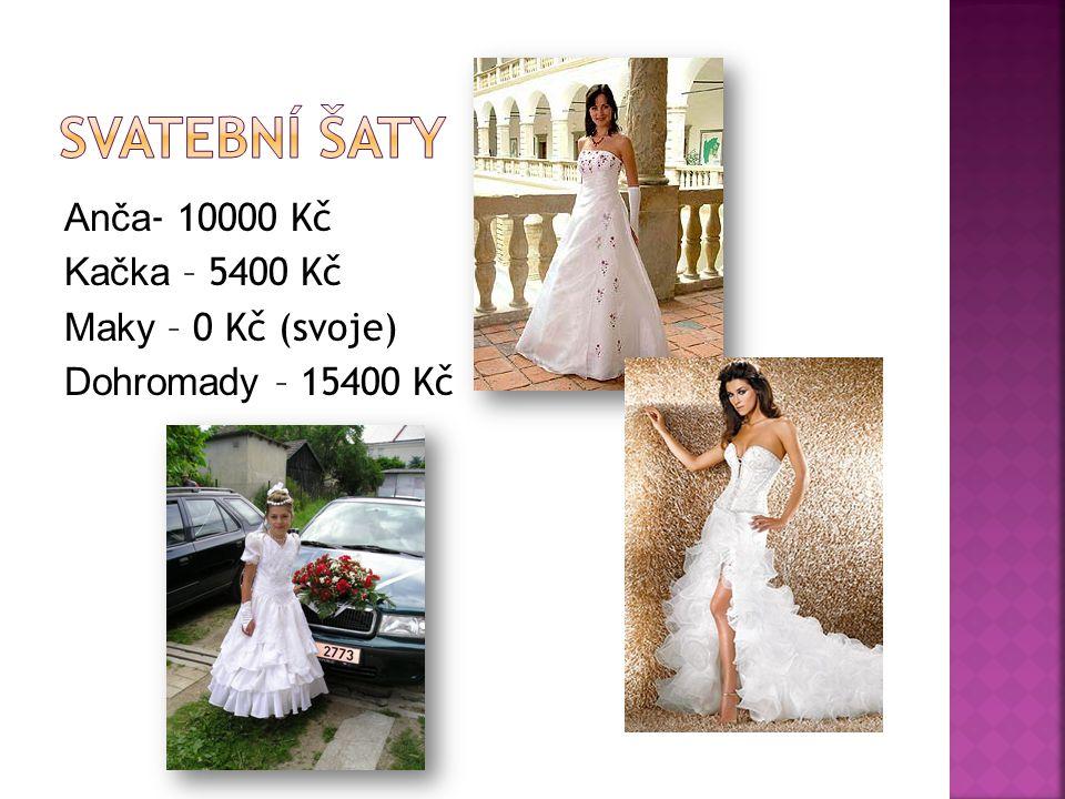 Svatební šaty Anča- 10000 Kč Kačka – 5400 Kč Maky – 0 Kč (svoje) Dohromady – 15400 Kč