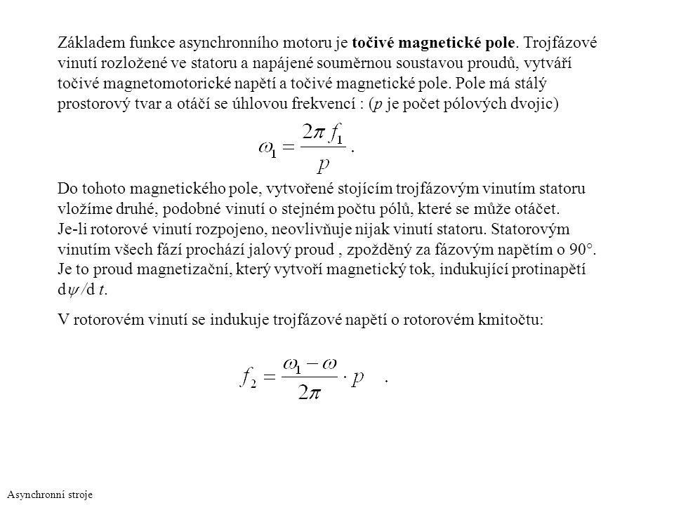 V rotorovém vinutí se indukuje trojfázové napětí o rotorovém kmitočtu: