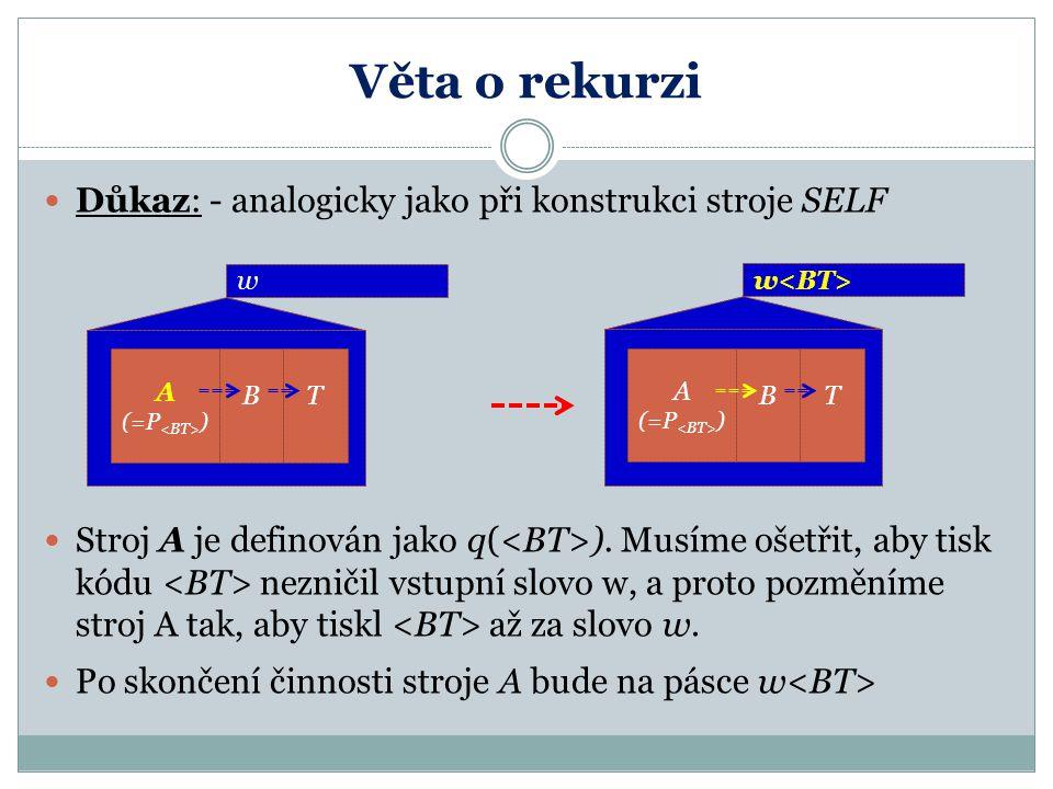 Věta o rekurzi Důkaz: - analogicky jako při konstrukci stroje SELF