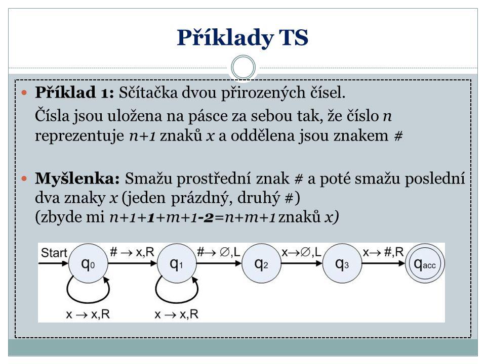 Příklady TS Příklad 1: Sčítačka dvou přirozených čísel.