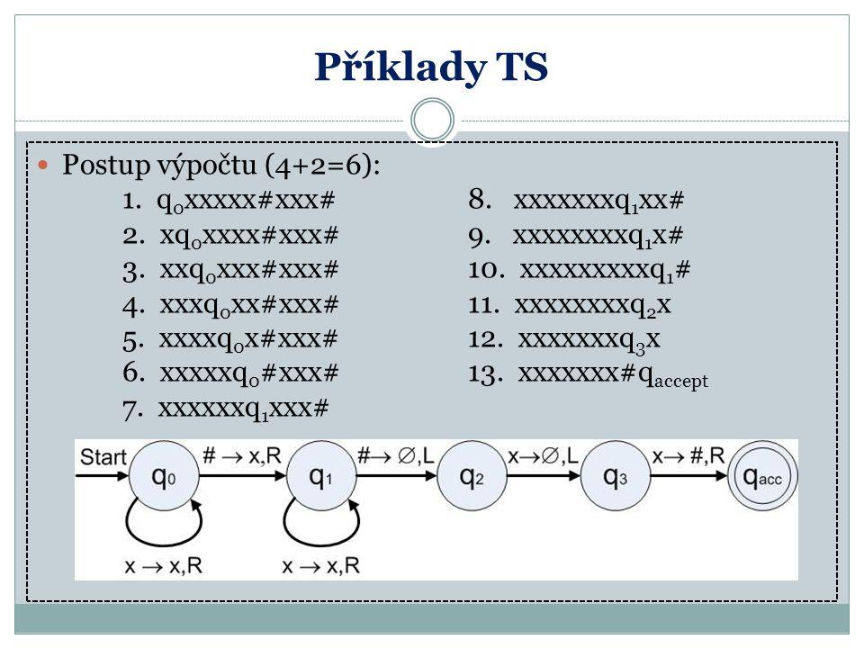 Příklady TS Postup výpočtu (4+2=6): 1. q0xxxxx#xxx# 8. xxxxxxxq1xx#
