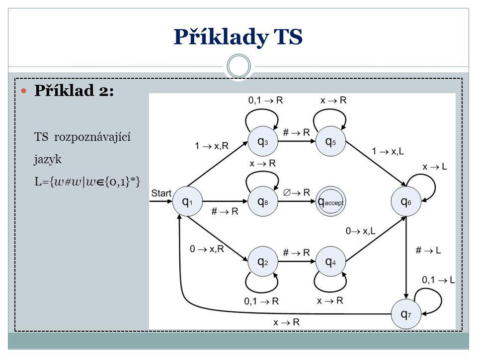 Příklady TS Příklad 2: TS rozpoznávající jazyk L={w#w|w{0,1}*}