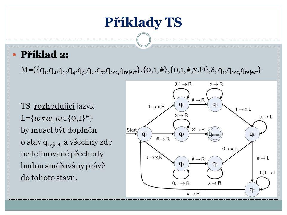 Příklady TS Příklad 2: L={w#w|w{0,1}*} by musel být doplněn