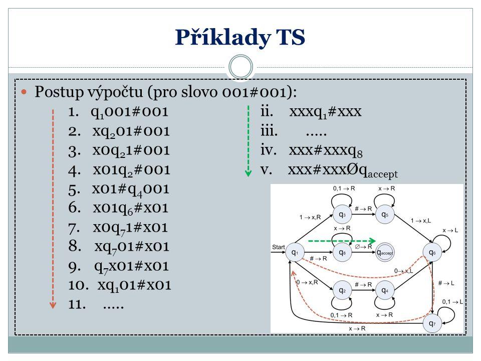 Příklady TS Postup výpočtu (pro slovo 001#001):