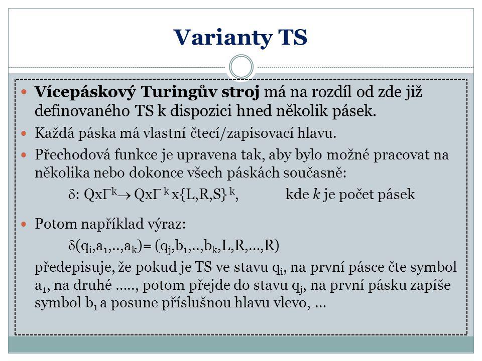 Varianty TS Vícepáskový Turingův stroj má na rozdíl od zde již definovaného TS k dispozici hned několik pásek.