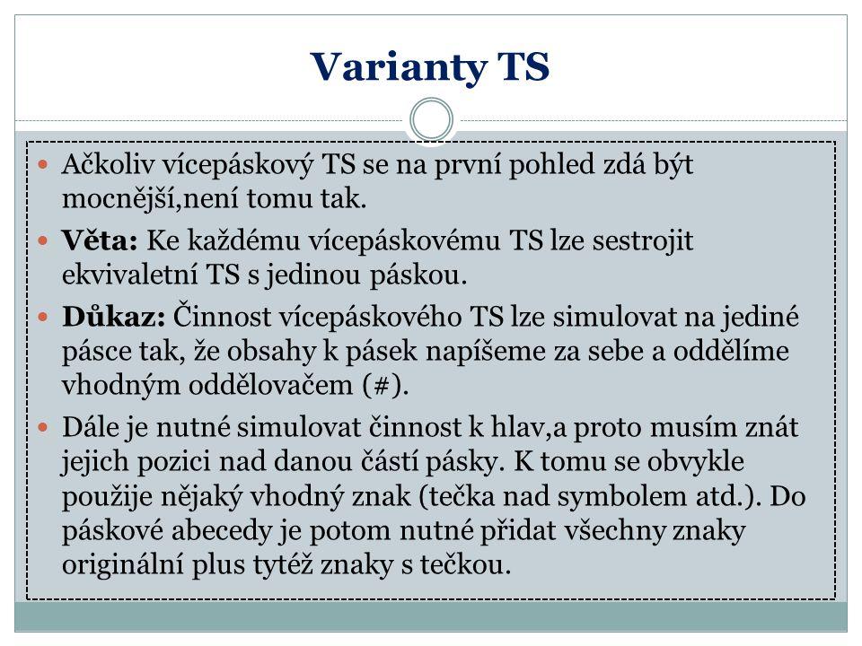 Varianty TS Ačkoliv vícepáskový TS se na první pohled zdá být mocnější,není tomu tak.