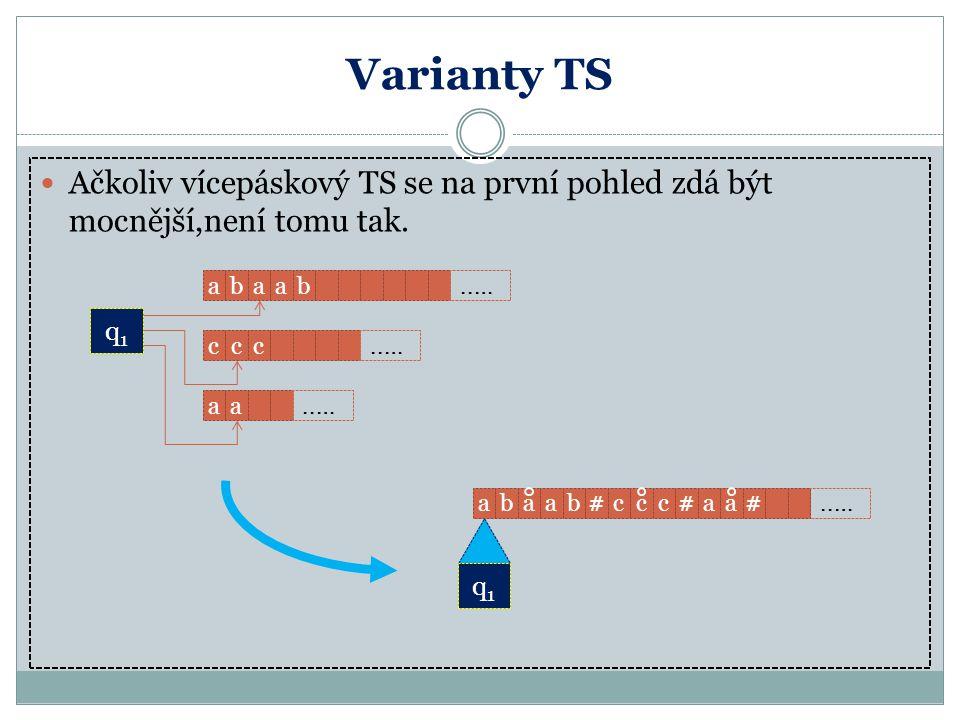 Varianty TS Ačkoliv vícepáskový TS se na první pohled zdá být mocnější,není tomu tak. a. b. a. a.