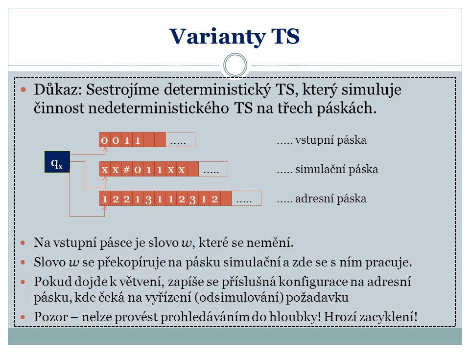 Varianty TS Důkaz: Sestrojíme deterministický TS, který simuluje činnost nedeterministického TS na třech páskách.