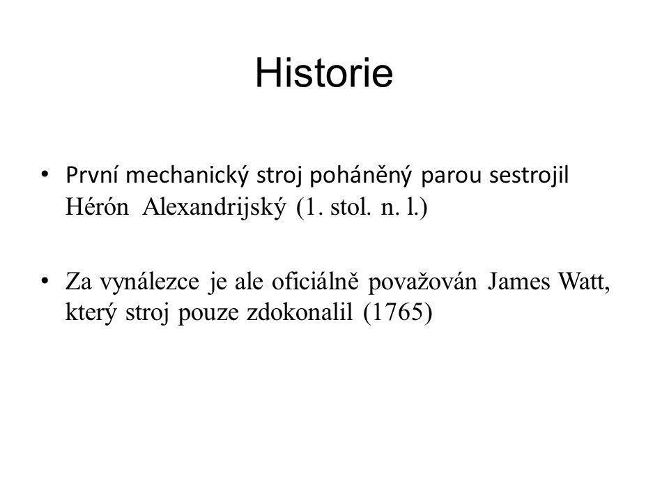 Historie První mechanický stroj poháněný parou sestrojil Hérón Alexandrijský (1. stol. n. l.)