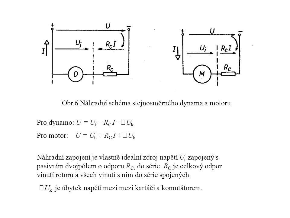Obr.6 Náhradní schéma stejnosměrného dynama a motoru