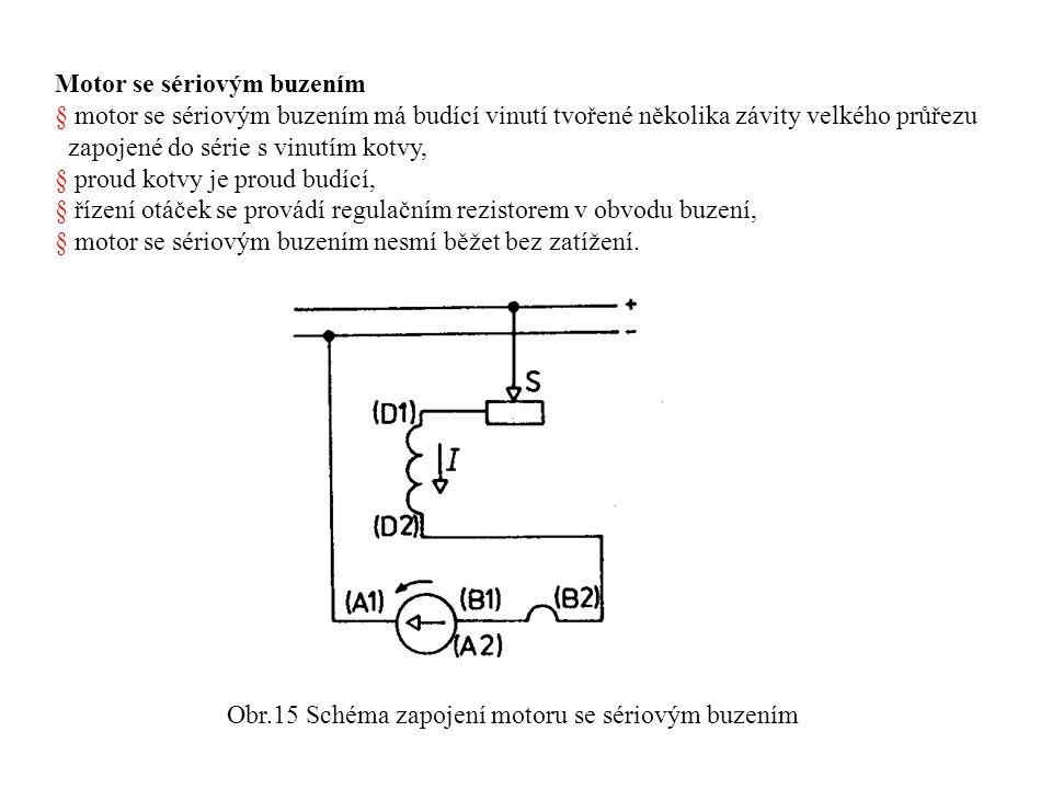 Obr.15 Schéma zapojení motoru se sériovým buzením